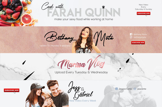 design a beauty blogger youtube channel art in 24 Hours