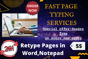 I will do fast page typing work of 15 pages within 24 hrs