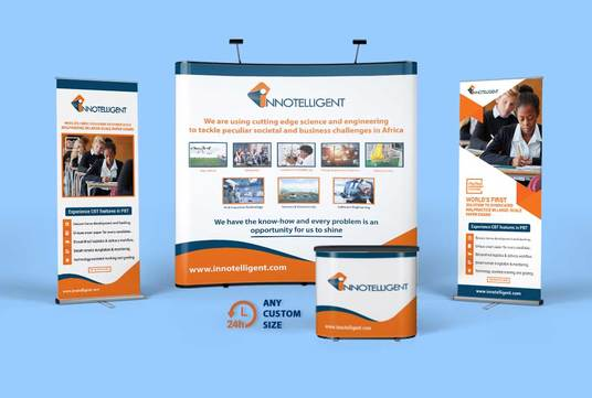 design roll up, retractable banner and premium trade show backdrop