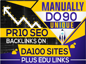 I will do 90 unique pr10 SEO backiinks on da100 sites  edu links
