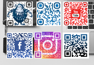 I will create 5 eye catching colorful QR codes