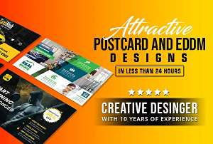 I will create a premium postcard or EDDM design in 24 hours