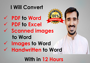 I will convert scanned PDF to word or pdf to excel within 12 hour