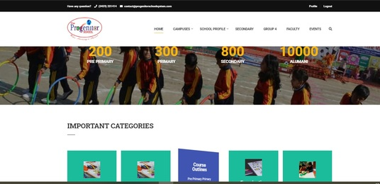 create a website for your school with all features, plugins, and suitable design as you like