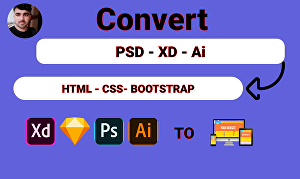 I will convert XD, figma, psd into bootstrap website