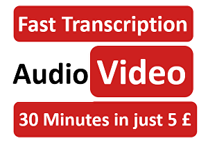 I will transcribe audio and do video transcription in 24 hours