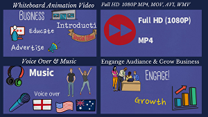 I will create a whiteboard animation explainer video with voice over