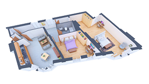 I will create a 3D floorplan