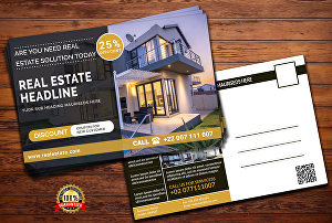 I will design modern real estate postcard or promotional postcard eddm