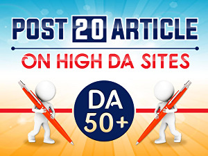I will provide 20 article submission on DA 50+  site with do-follow  backlinks
