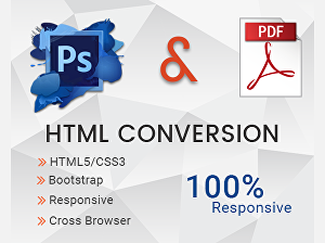 I will convert psd, pdf to html, responsive using bootstrap