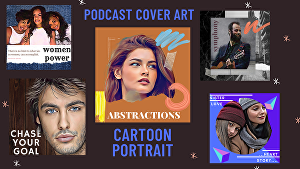 I will design elegant podcast cover art with your cartoon portrait