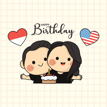 make custom illustration for gift, birthday, couple with cute style