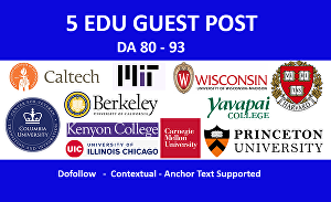 I will provide 5 edu guest post backlinks from top USA universities