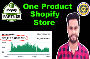 I will create a one product shopify dropshipping store
