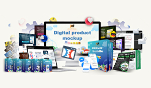 I will Design a digital product 3d mockup and e cover bundle