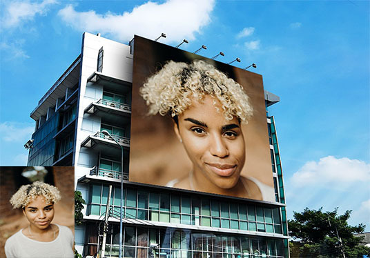 place your face or product on the largest building