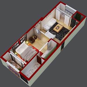 I will create 3d floor plan