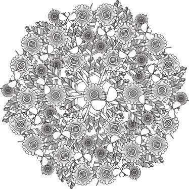 provide 5x complex floral mandala design for your adult coloring book