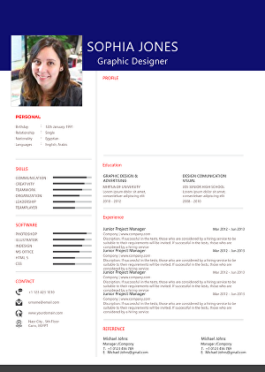 I will design professional resume CV with infographics