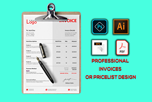I will design professional invoices, business cards and letterheads