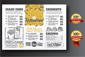 I will Design Eye Catching Restaurant Menu, Food flyer