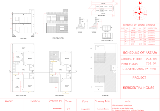 draw 2d Architectural floor plans of commercial and residential building