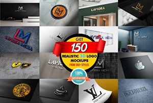 I will place your logo into 50 photorealistic 3d mockups