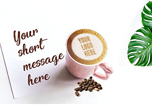 I will put your logo on latte coffee with your message next to it