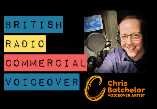 voice and produce a 30 second British radio commercial with music & sound effects