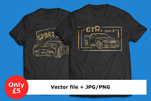I will design simple sports car line art for your t-shirt design