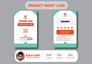 I will design amazon thank you card, professional product insert card