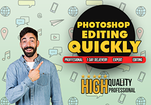 I will do quick and professional adobe photoshop editing in 24 hour