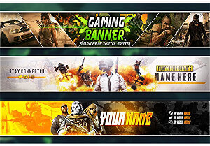 I will design a Youtube, Twitch, Facebook, Twitter, Gaming banner