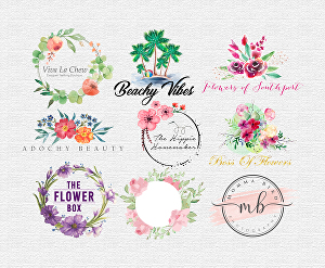 I will design watercolor feminine and floral logo