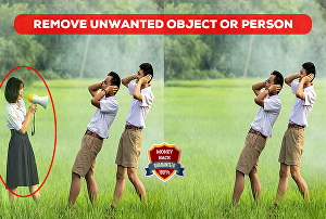 I will remove unwanted object or person from a photo in photoshop