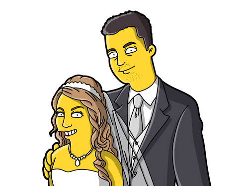 Draw Yellow Cartoon Character in Simpson Style