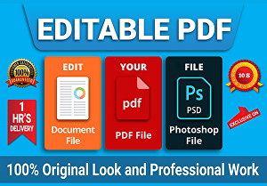 I will edit pdf document, scanned file, editable PDF, photoshop Edit Team Working
