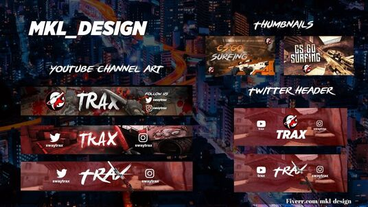 design gaming intro, outro, 3 gaming thumbnails, gaming channel art and twitter gaming header