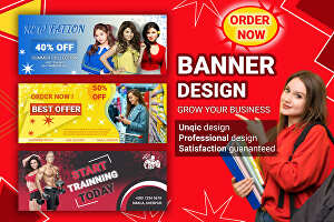 I will design a website banner, banner ads or social media cover