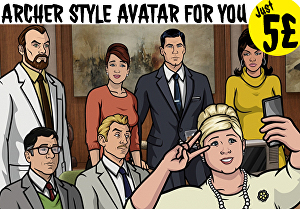 I will make awesome archer style avatar face cartoon for instagram