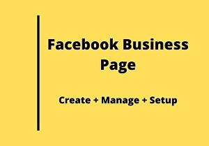 I will create facebook business page, setup and manage