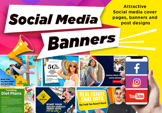 design creative social media post and banner ads