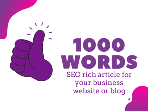 write a 1000 word SEO rich article for your business blog or website + One Royalty Free Image