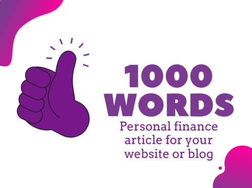 write a 1000 word article about personal finance for your website or blog + One Royalty Free Image