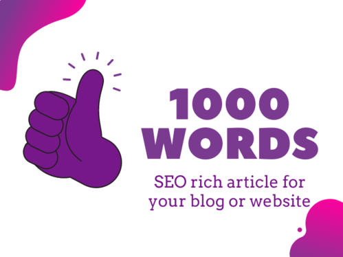 write a 1000 word SEO rich article for your blog or website + One Royalty Free Image