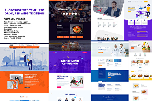 I will do photoshop web template or xd, PSD website design