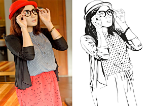 I will draw black and white line art from your photo