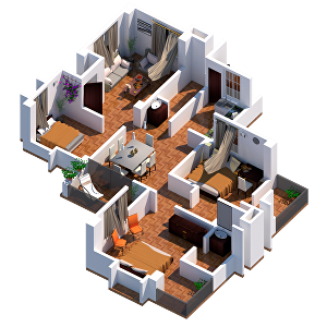 I will do 2d drawing, 3d modeling, photo realistic image rendering of your house and property