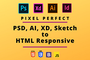 I will convert PSD, AI, XD, Sketch to HTML responsive